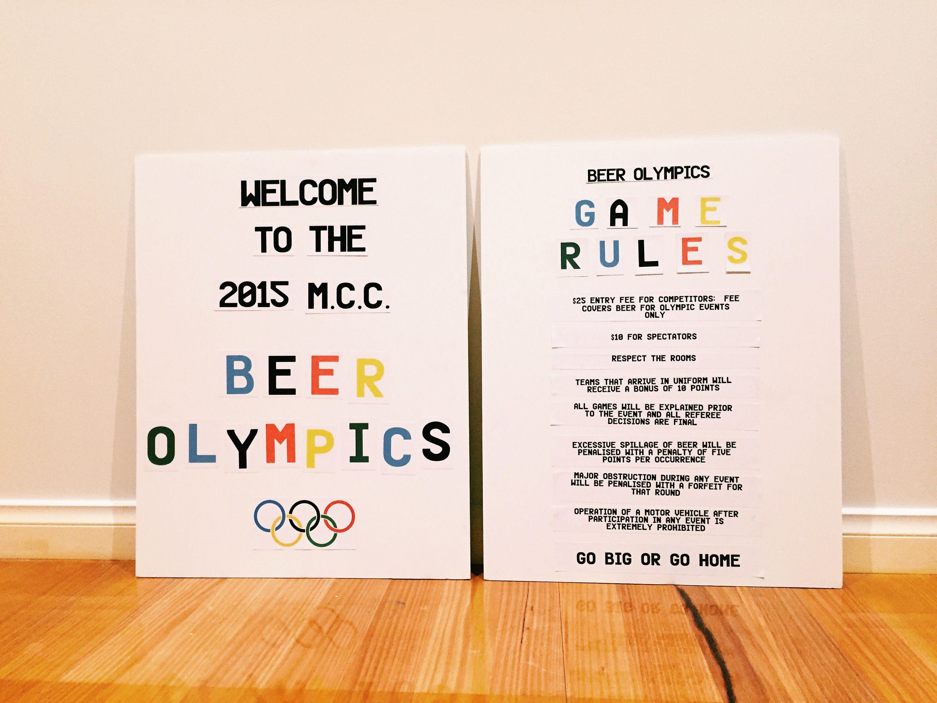 Beer Olympics Board + Rule Board Beer olympic