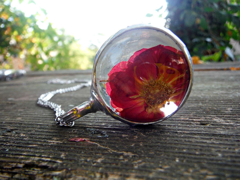 Real Red Flower Glass Terrarium Necklace Terrarium Jewelry  # Terrarium Dangle