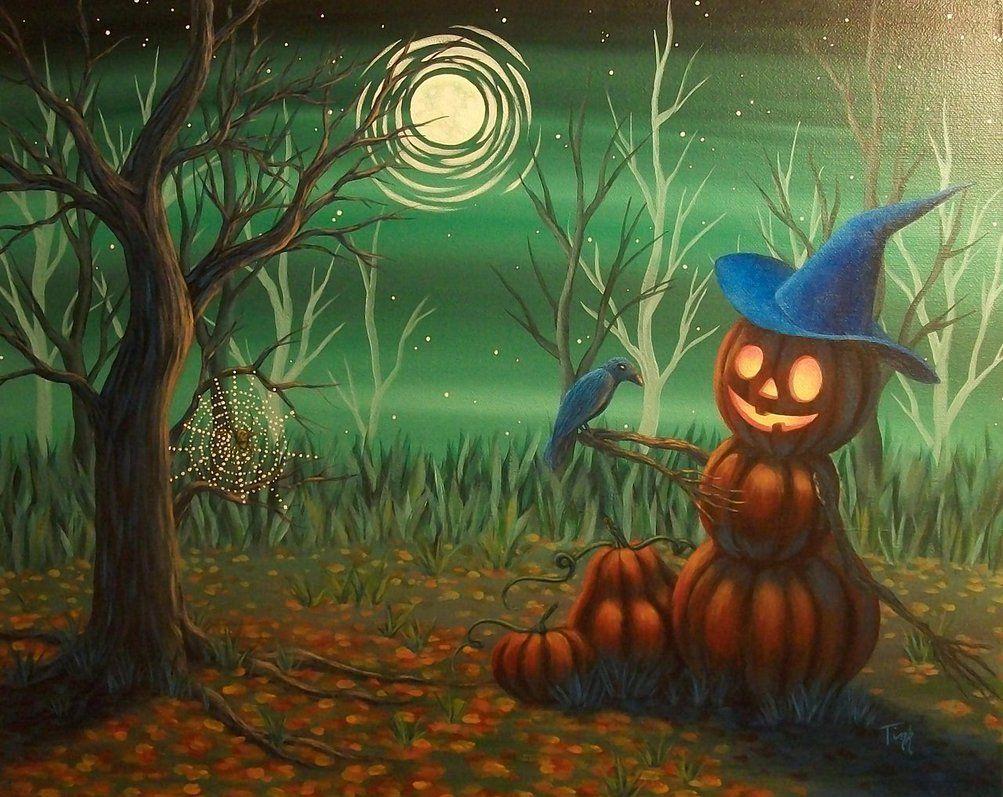 In The Pumpkin Patch By Kattink Deviantart Com On Deviantart Halloween Drawings Halloween Illustration Pumpkin Illustration