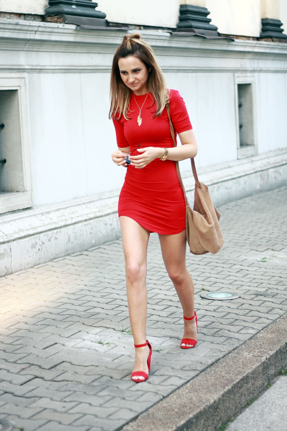 street style fashion red dress heels blonde girl tumblr ...