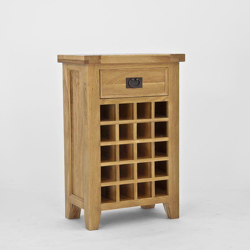 Elegance Solid Oak Wine Cabinet With 1 Drawer Rack Ametis E