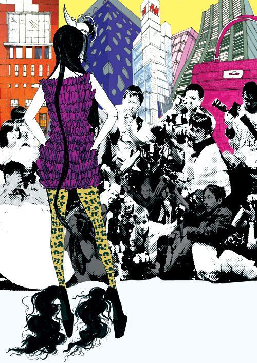 Fashion Illustration by Przemeck Sobocki- paparazzi crush. Look out for Godzilla Hermes!