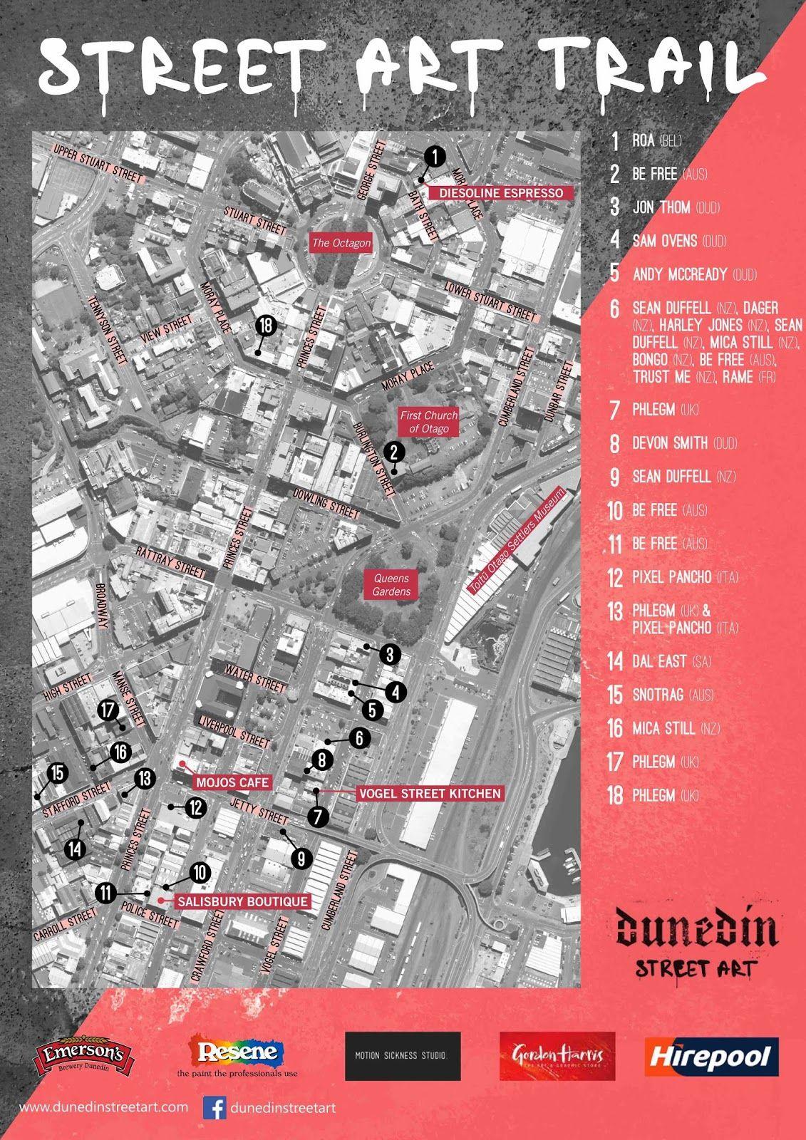 Image result for cool take on art trail map Dunedin Pinterest