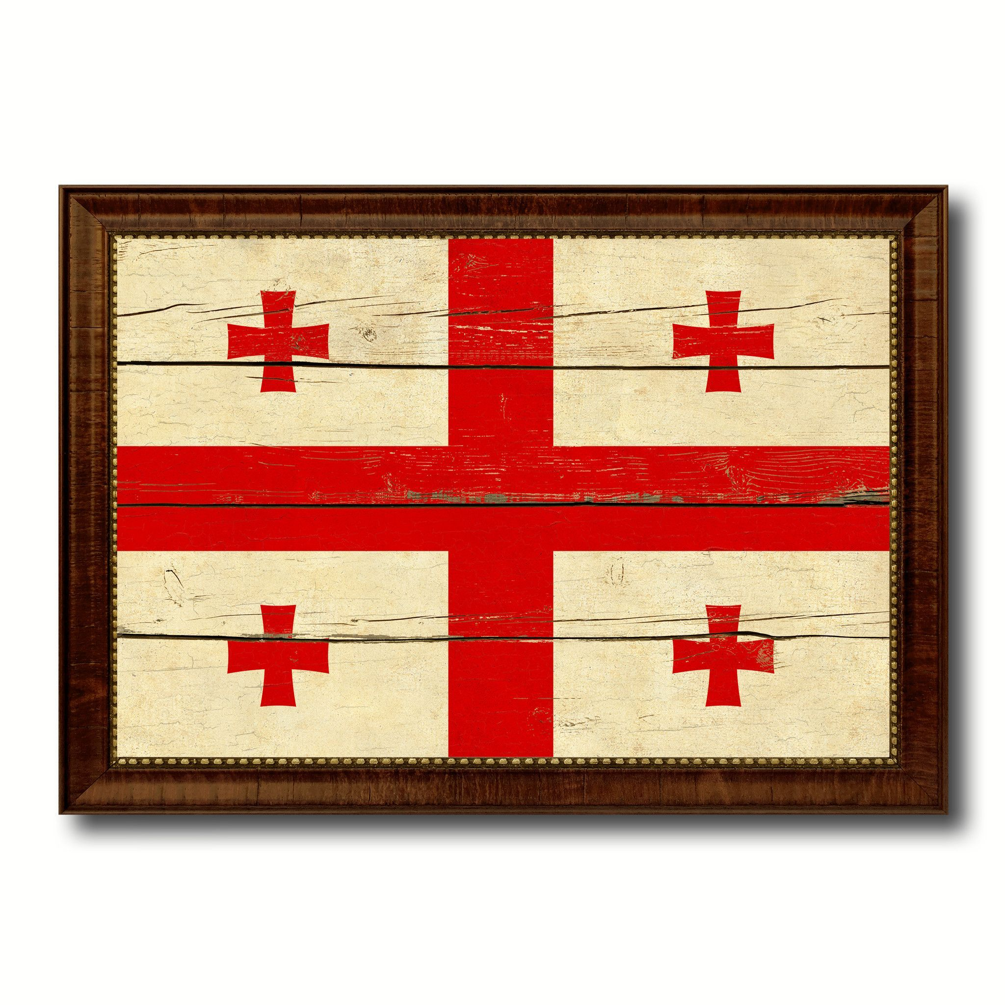 Georgia Country Flag Vintage Canvas Print with Brown Picture Frame ...