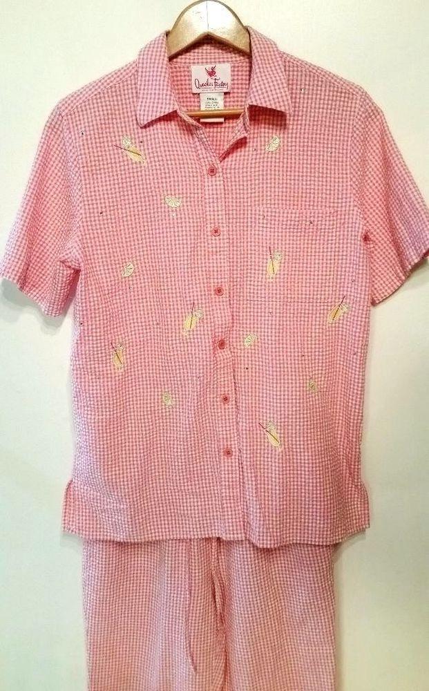 Quacker Factory S Pink Rhinestone Margarita Gingham Top & Crop Pants ...