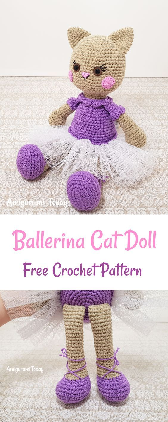 Just Be Crafts: This Ballerina Cat Doll Crochet Pattern will help ...