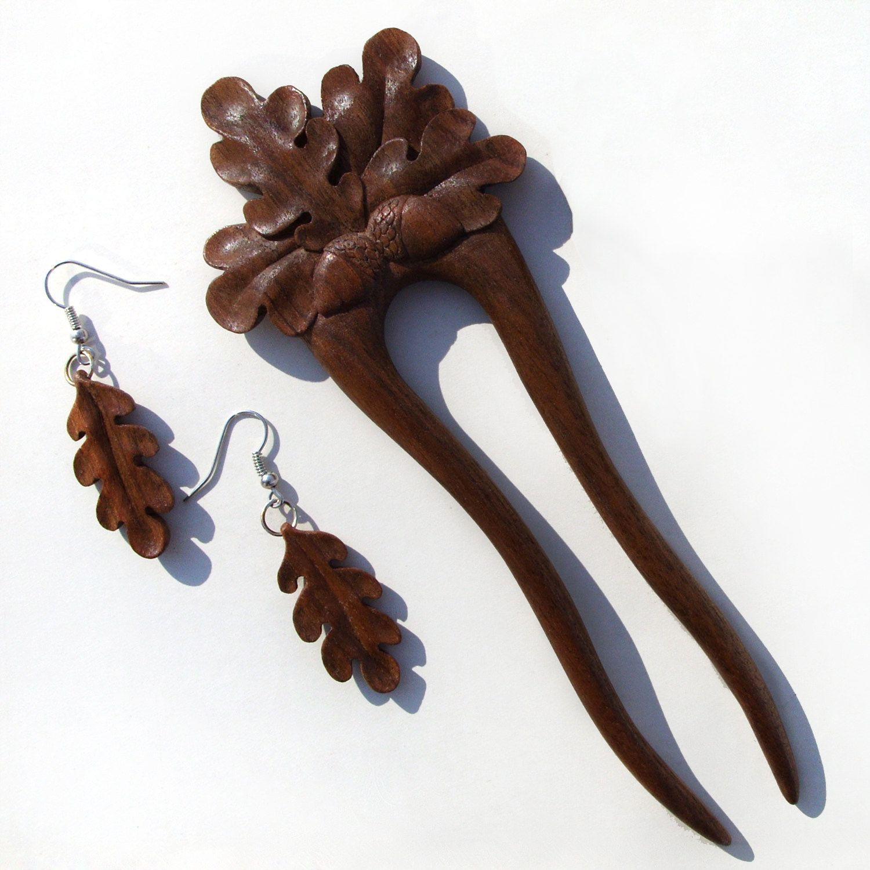 Acorns hand carved wooden hair sticks fork hairpin