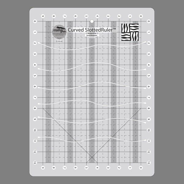 The Curves Slotted Ruler is one of a range of rulers created to make cutting gentle curves from squares and rectangles simple and easy. Cut rectangles into seven curvy shapes to create curvy rail fence units