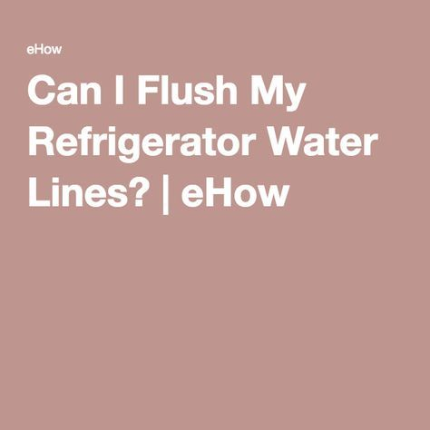 Can I Flush My Refrigerator Water Lines Ehow