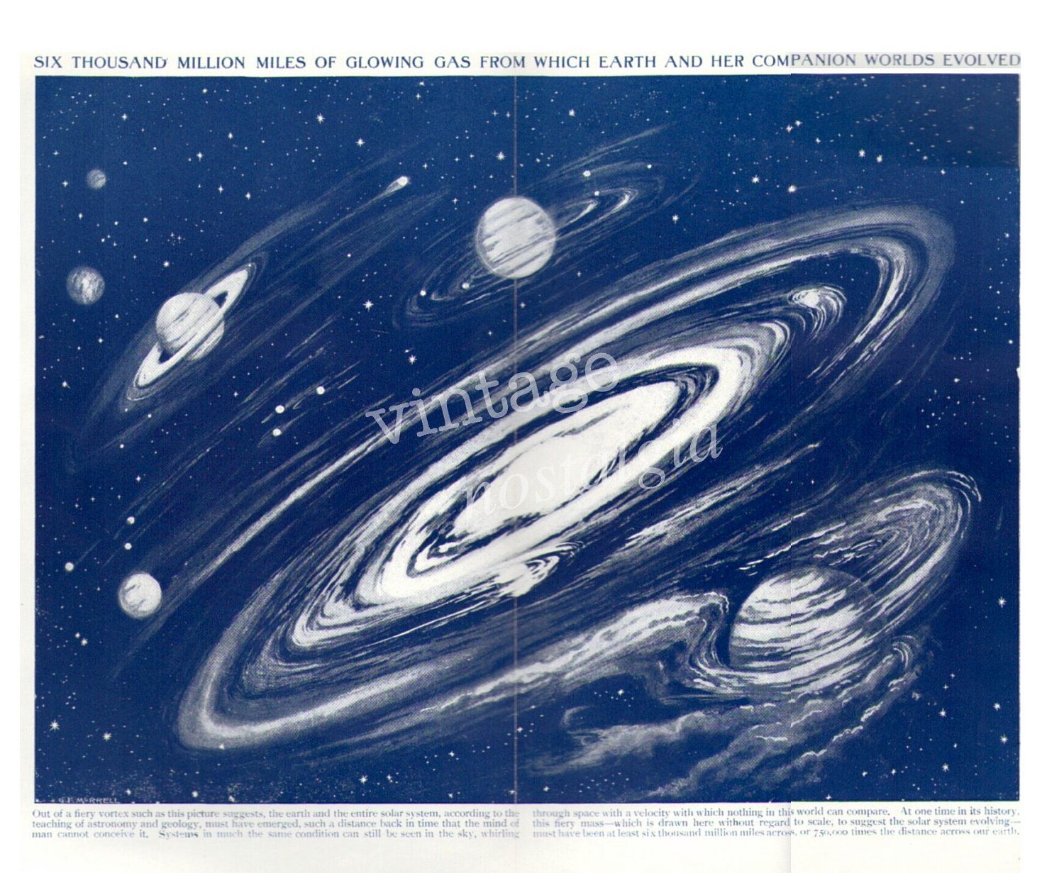 1920s Solar System Earth vintage book plate - astronomy, planets, universe, galaxy. $10.95, via Etsy.