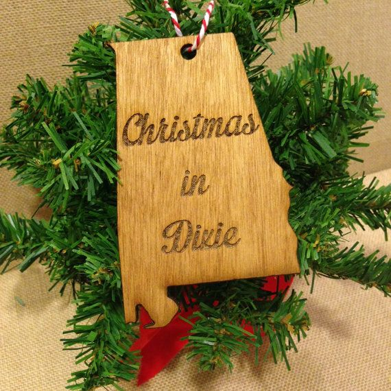 Alabama Christmas In Dixie.Alabama Birch Wood Ornament Silhouette With Christmas In