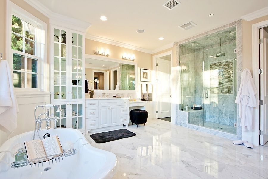 inset marble subway tile and white subway tile, double shower, marble tile  floor master bathroom