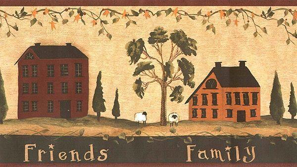 Land Bad Wand Grenze Primitive Saltbox House Wallpaper Grenze Ct1820bd Landhaus 2019 Primitive Wallpaper Primitive Painting Saltbox Houses