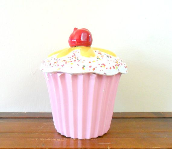 Cupcake Canisters For Kitchen: Vintage Bright Pink Ceramic Cupcake Container