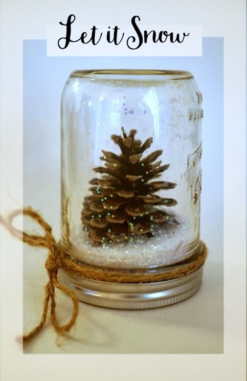 Pine Cone Christmas Craft Ideas Part - 15: Winter Pinecone Snow Globe Craft Idea, Just Glue A Pinecone To The Lid Of  Your