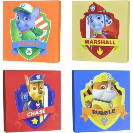 nickelodeon paw patrol 4-piece canvas wall art, red | products in