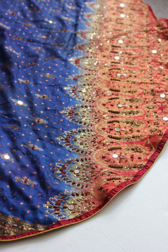SARI TREE Skirt Christmas Saree Embroidered Fabric Sequin Mirror