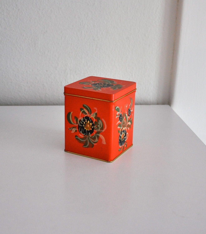 Vintage Floral Tea Tin Orange Red Box. $9.50, via Etsy.