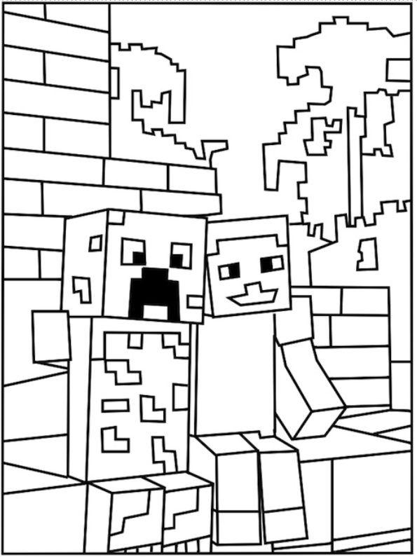 Kleurplaten Minecraft Steve.Coole Minecraft Monster Kleurplaat Minecraft Kleurplaten