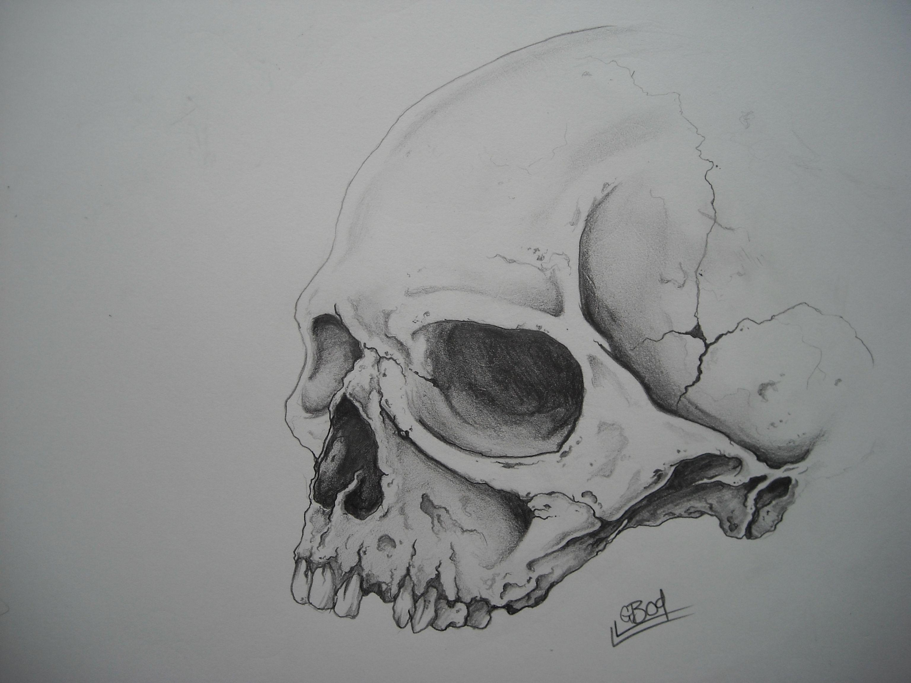 Skull Jaw Tattoo: Realistic Skull No Lower Jaw
