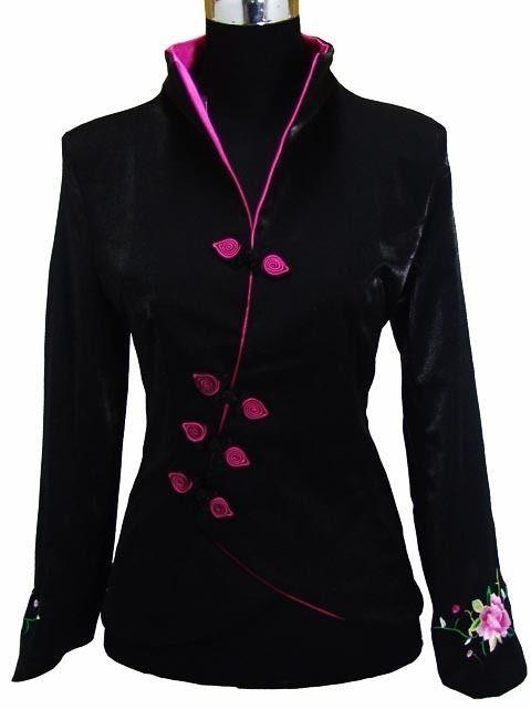 black Chinese silk embroider Women's jacket /coat sz:M L XL XXL 3XL 4XL 5XL 6XL
