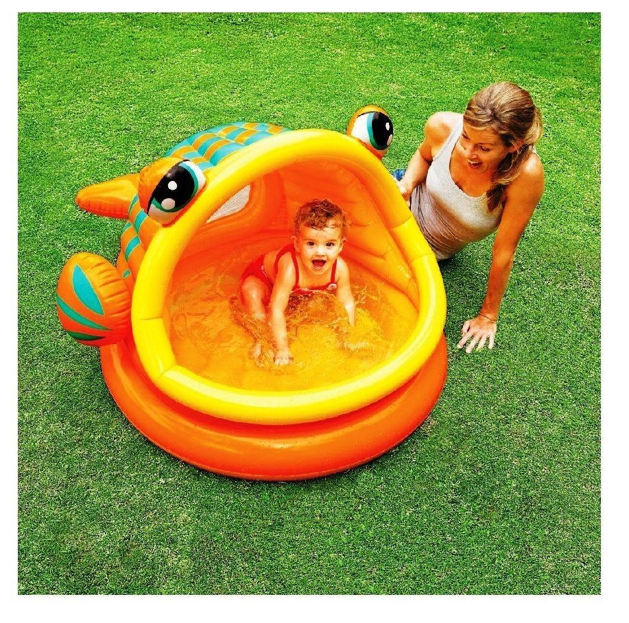 Baby Inflatable Pool W Sunshade Infant Kids Toddler Outdoor Backyard Water Play Baby Pool Baby Shade Inflatable Baby Pool