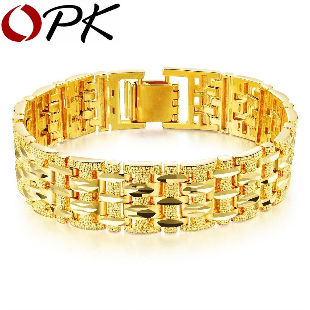 Dazzling gold plated bracelet bangle with thick chain more bangle