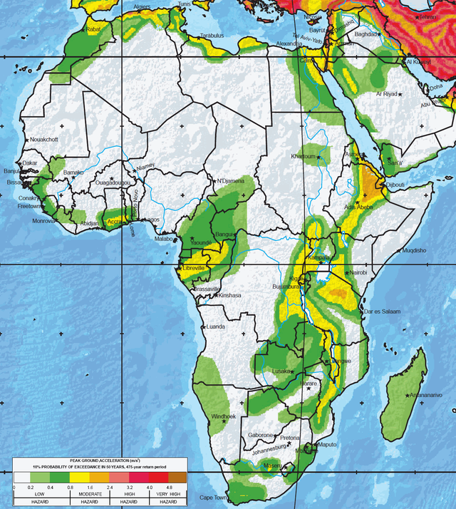 The greatest earthquake zones on earth africa and earth where are the greatest earthquake threats in the world seismic hazard map of africa gumiabroncs Choice Image