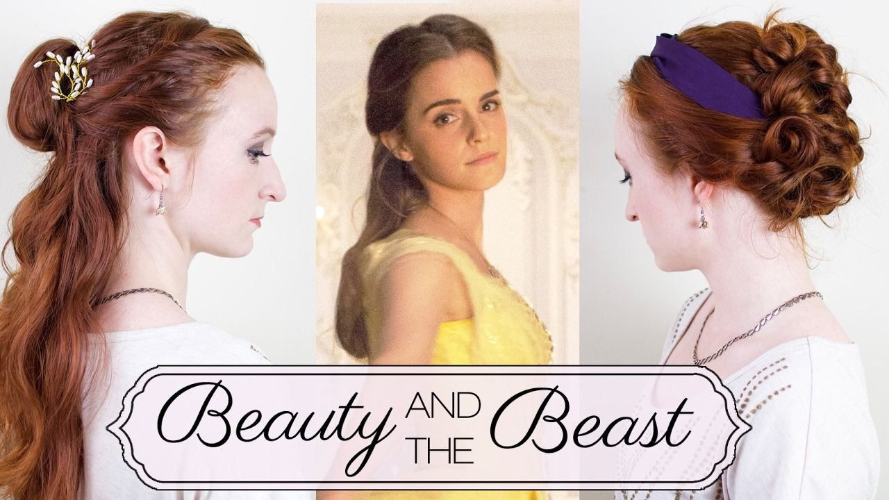Two Updos On Belle In Beauty And The Beast Tutorial Belle Hairstyle Dance Hairstyles Beauty And The Beast