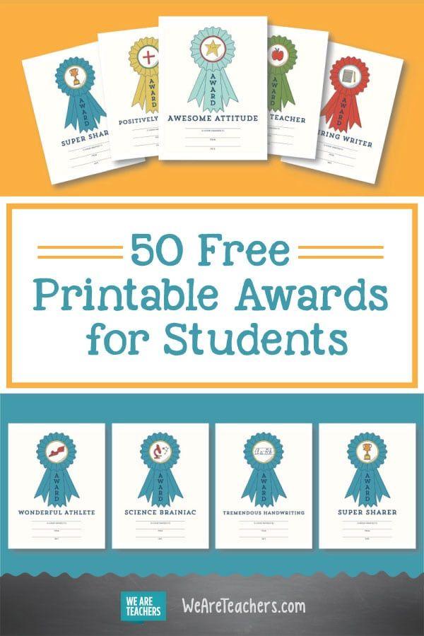 50 free printable awards for students pinterest free printable