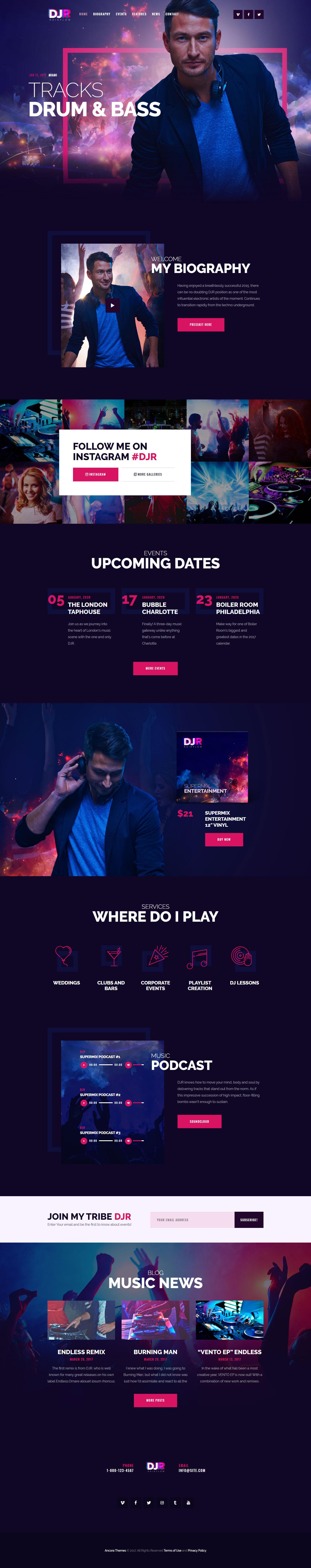 DJ Rainflow | Music Band & Musician WP Theme #wordpress #parallax ...