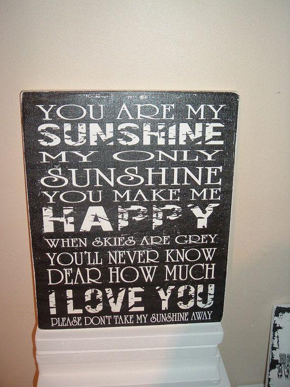 shabby chic nursery plaque you are my sunshine sign by debbri, $33.00