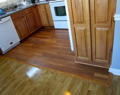 Transition wood floor between rooms google search for Flooring transition from kitchen to family room