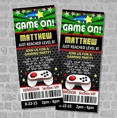Video Games Party Ticket Invitations, Gaming Birthday Party Ticket - party ticket invitations