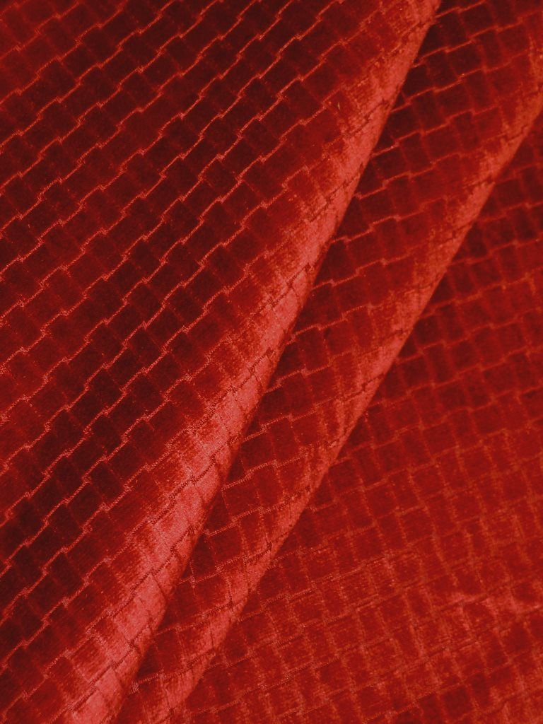 Microfiber Velvet Color Paprika Upholstery Fabric With An Animal