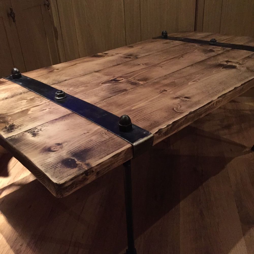 SOLD Bespoke Industrial Style Extra Wide Wooden Coffee Table With