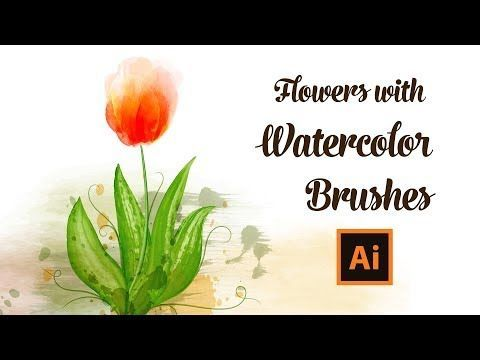 How To Draw Tulip Flowers With Watercolor Brushes In Adobe