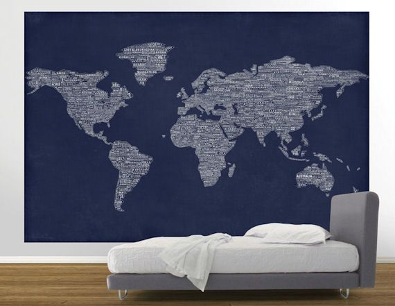 Navy world map easy up mural wall sticker outlet 75 decor navy world map easy up mural wall sticker outlet 75 gumiabroncs Image collections