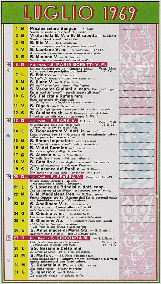 Calendario 1969 Mese Di Luglio With Images Map Periodic