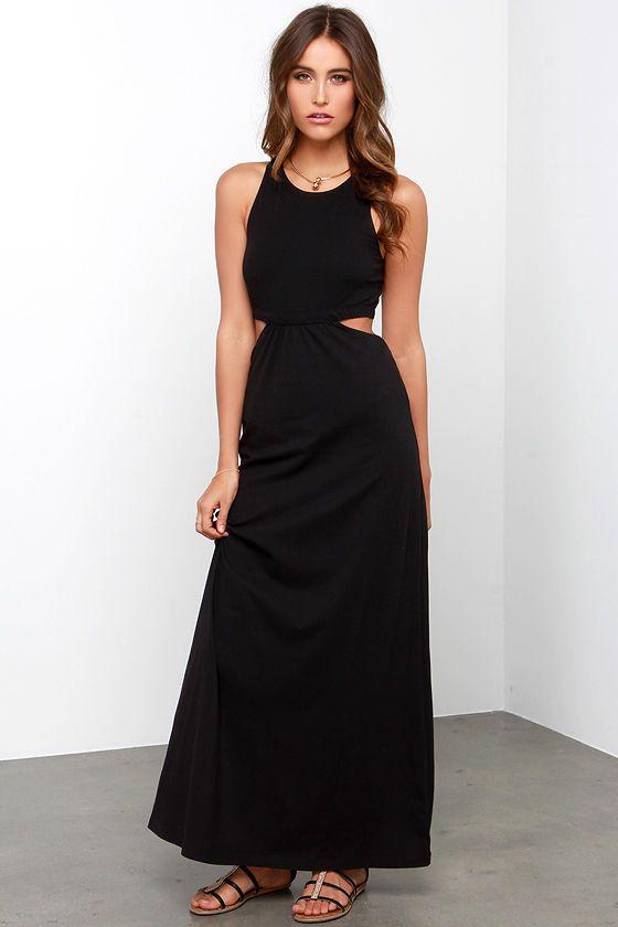 6bdcaece129 Billabong Hold On Me Black Maxi Dress at Lulus.com!