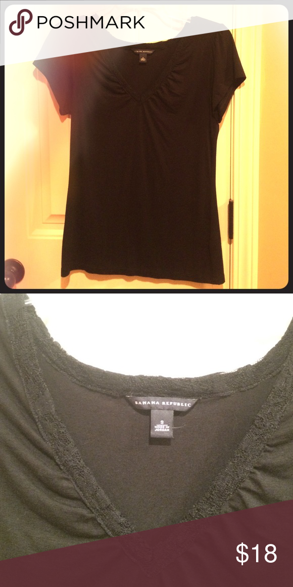 Black banana republic top BNWOT Brand new without tags black banana republic shirt. It's a small and a little too big on me as I wear xxs-xs. It's only been worn once to try on. It's soft fabric and has a v-neck cut with lace around the edges. This shirt is in perfect condition!! Banana Republic Tops Tees - Short Sleeve