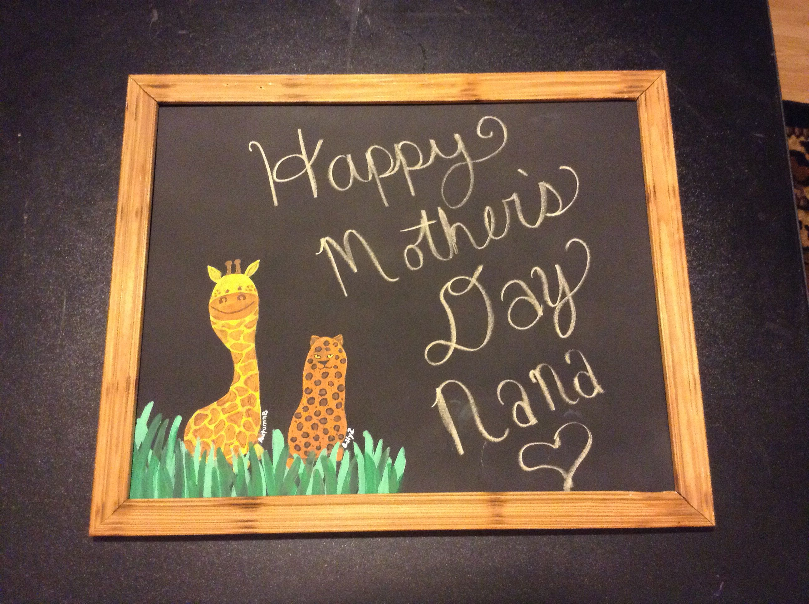 Sheet Metal Spray Painted With Chalkboard Paint And Kids Footprint