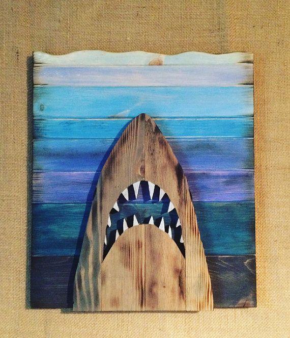 Handmade Wooden Jaws Wall Art Pallet Wall Art Art Nautical Art