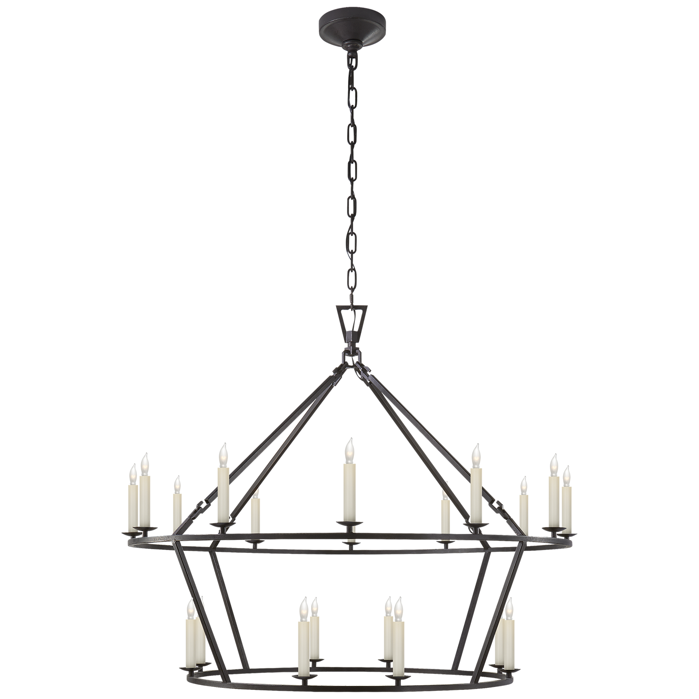 "DARLANA LARGE TWO TIERED RING CHANDELIER Height 33"" Width 40"