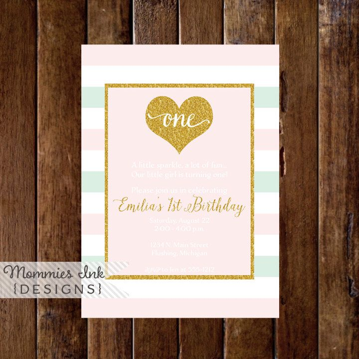 Mint and Blush Pink Stripe Gold Heart First Birthday Party