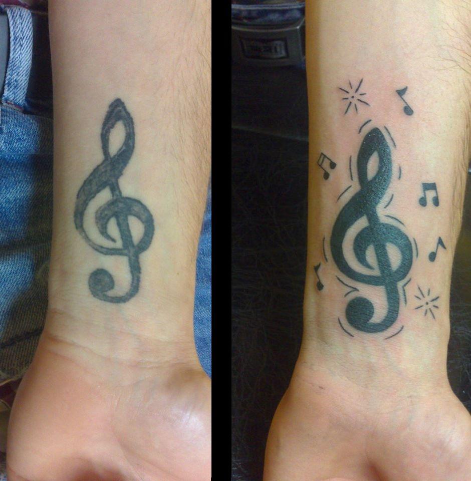 tattoo tatouage recouvrement cle de sol note musique poignet tatouages dts recouvrement. Black Bedroom Furniture Sets. Home Design Ideas