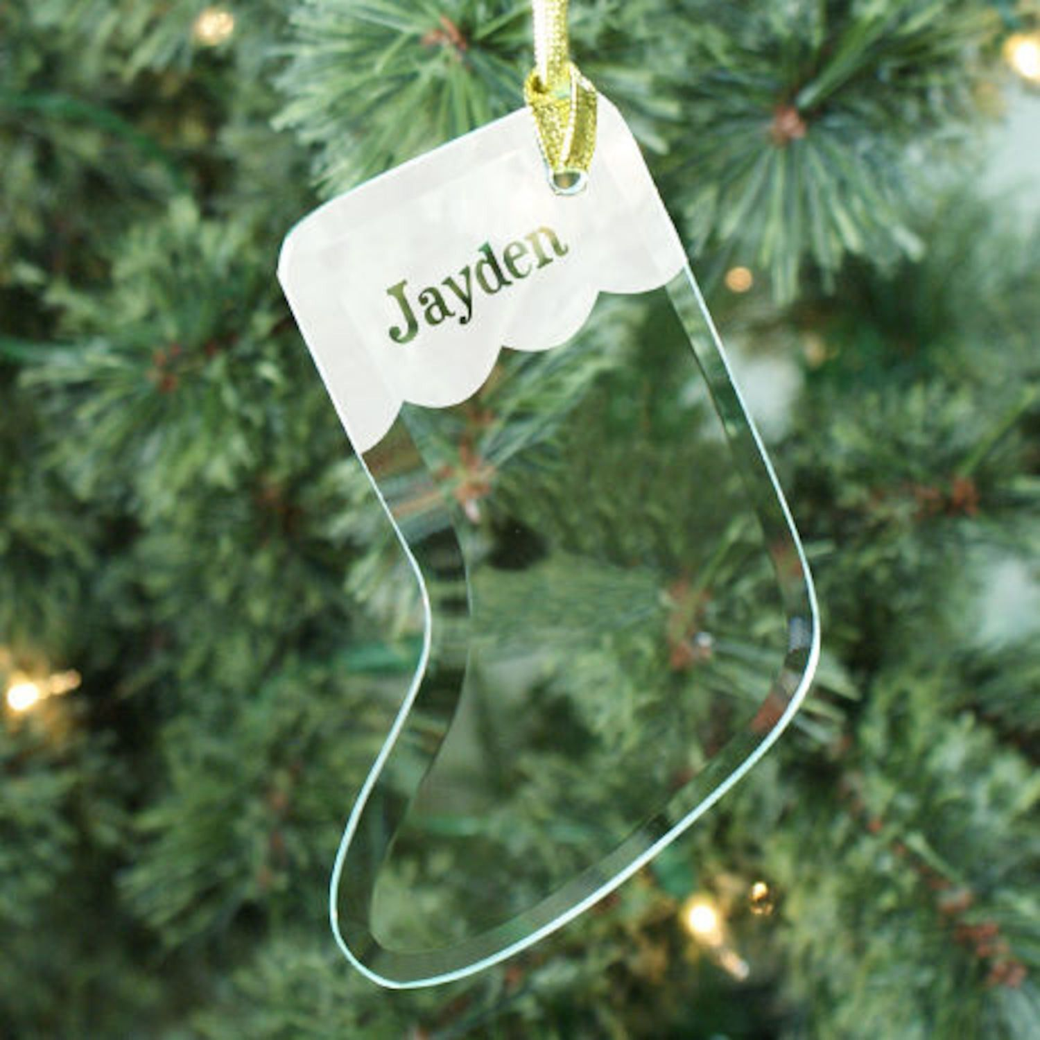 Personalized Engraved Glass Stocking Ornament