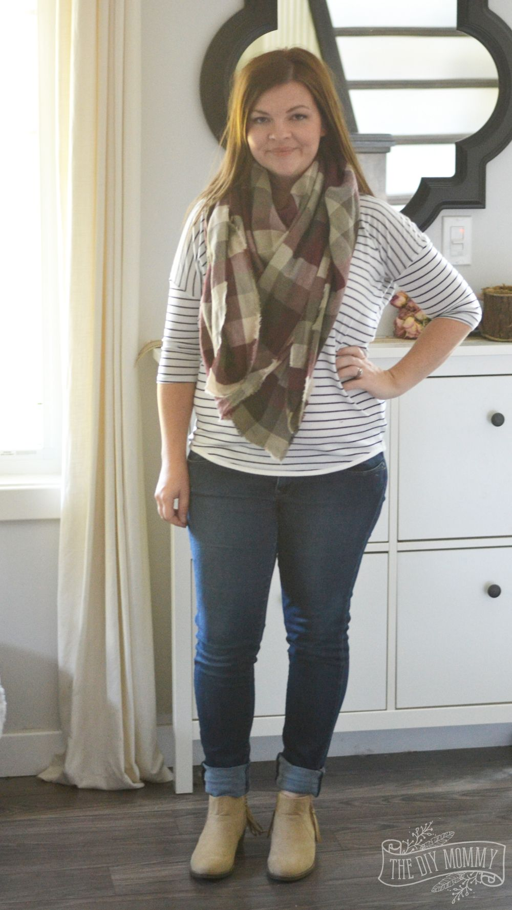 7e9499433530c Petite Curvy Mom Style: Blanket scarf, striped tee, jeans, tan booties.