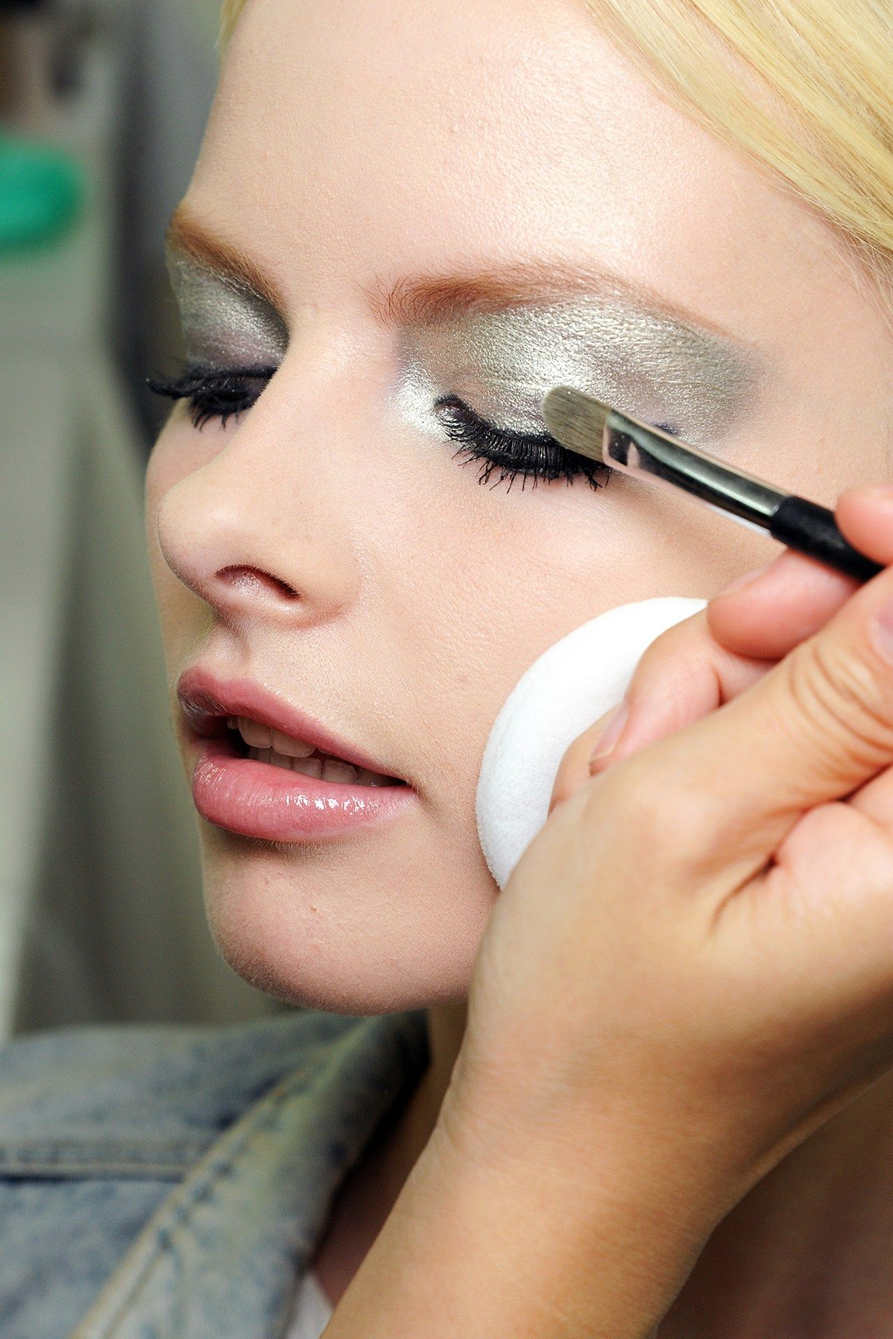 """Chanel Silver Make Up Backstage    I do love seeing close up beauty images backstage at the fashion shows, I saw this and had to share it.     Voque Quoted """"CHANEL - The eyes were the focus, with silvery shadow and feline liquid liner."""""""