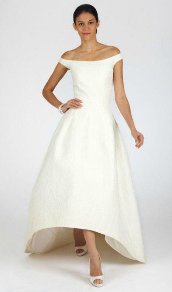 Simple elegant high low wedding dress for older brides for Wedding dresses for over 50 s bride